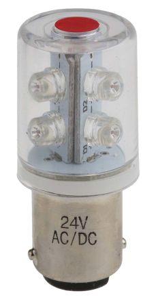 LED Beacon Lamp, Red, BA15d, 24 V ac/dc, 30°View, 6 Chip, 350mcd ...
