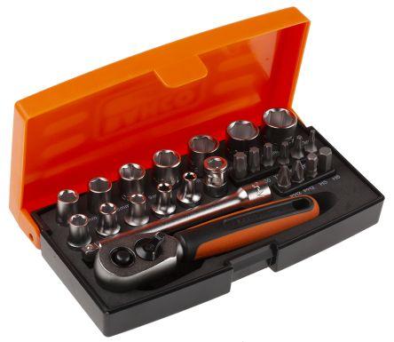 SL25 | Bahco SL25, 25 Pieces Socket Set 1/4 in Hexagon ...