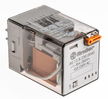 F0350664 01 60 12 8 230 0040 finder dpdt plug in non latching relay, 230v ac finder relay wiring diagram at crackthecode.co