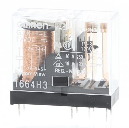 G2r 1 E 12dc Omron Spdt Pcb Mount Non Latching Relay