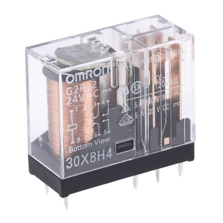 Omron DPDT PCB Mount Non-Latching Relay, 24V dc Coil