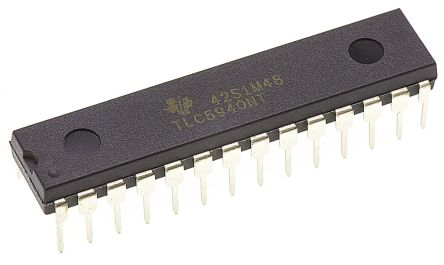 Texas Instruments TLC5940NT, LED Driver, 16-Digits 16-Segments, 3.3 V, 5 V, 28-Pin PDIP