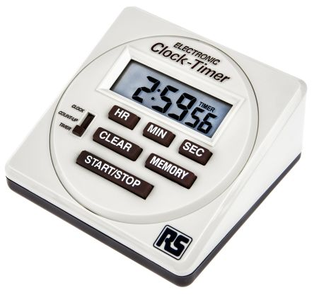 RS Pro White Combination Clock/Timer/Stopwatch