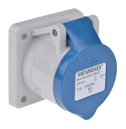 1363 Mennekes Ip44 Blue Panel Mount 3p Industrial Power