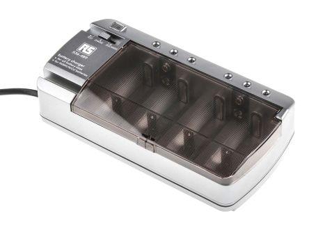 RS Pro 9V, AA, AAA, C, D Battery Charger, UK Plug