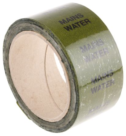 Signs & Labels Green PP, Vinyl Pipe Marking Tape, text Mains Water, Dim. W 50mm x L 33m