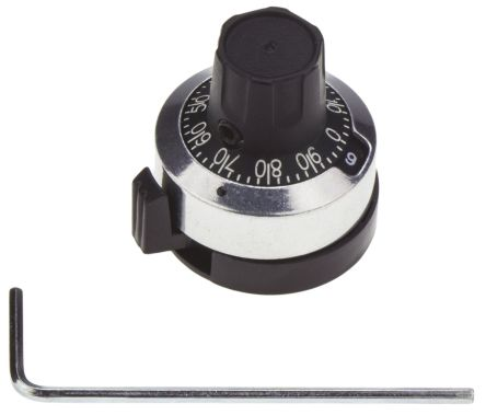 Atoms Potentiometer Dial, Body: Chrome, Dia. 23.4mm with a Black Indicator, 6.35mm Shaft