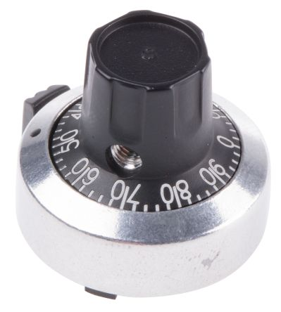 Atoms Potentiometer Knob, Body: Chrome, Dia. 24mm with a Black Indicator, 6mm Shaft