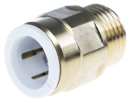 John Guest Straight Brass Push Fit Fitting 15mm x 1/2 in BSP Male