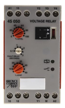 Broyce Control Voltage Monitoring Relay with SPDT Contacts, 1 Phase, 230 V ac