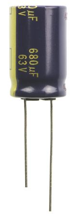 Panasonic Aluminium Electrolytic Capacitor 680μF 63 V dc 16mm Through Hole FC Radial Series Lifetime 5000h +105°C