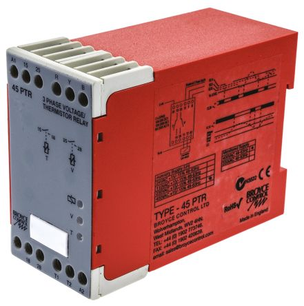 Broyce Control Phase, Temperature Monitoring Relay with DPST Contacts, 3 Phase, 400 V ac