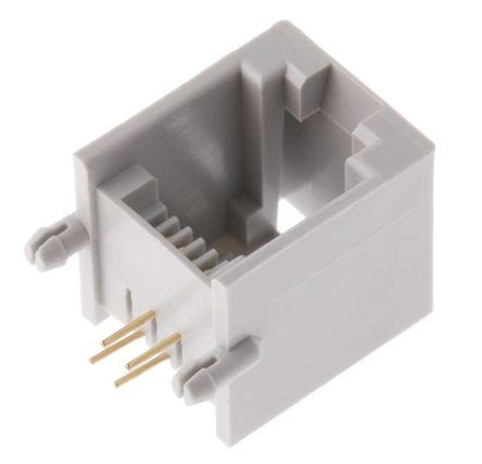 rs pro 6p4c路 直角向 印刷电路板安装 rj11 插座, 磷铜触芯