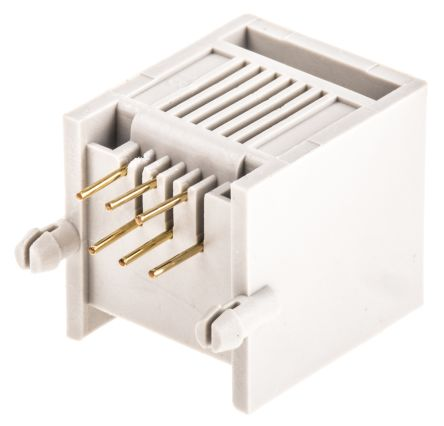 rs pro 6p6c路 直角向 印刷电路板安装 rj11 插座, 磷铜触芯
