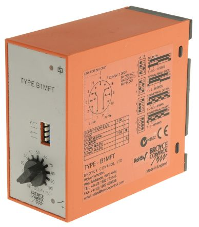 Multi Function Timer Relay, 0.25 → 60 min, 0.5 → 60 s, DPDT, 2 Contacts, DPDT, 24 V ac/dc, 230 V ac