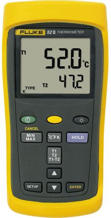 digital thermometer. fluke 52 digital thermometer, 2 input handheld, e, j, k, t thermometer