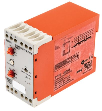 Broyce Control Voltage Monitoring Relay with SPDT Contacts, 1 Phase, 24 V ac, 115 V ac, 230 V ac