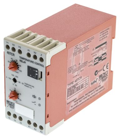 Broyce Control Temperature Monitoring Relay, 24/230 V ac