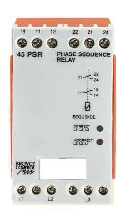 Broyce Control Phase Monitoring Relay with SPDT Contacts, 3 Phase, 400 V ac