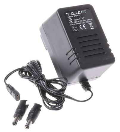Mascot Plug In Power Supply 12V ac, 1.5A 1 Output, 1 x 2.1 mm with Snap-Lock, 1 x 2.5 mm with Snap-Lock