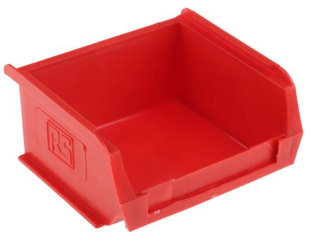 rs pro red plastic stackable storage bin 50mm x 100mm x 90mm