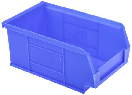 rs pro blue plastic stackable storage bin 76mm x 101mm x 167mm
