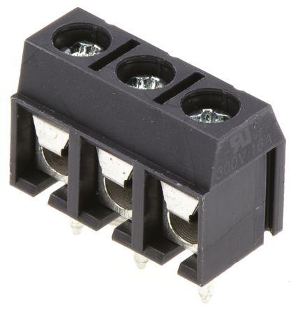 rs pro 5mm 节距 3 路公 灰色 直 印刷电路板接线端子块, 通孔, 螺钉