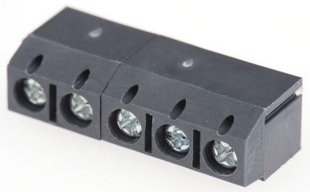 rs pro 5mm 节距 5 路公 灰色 直 印刷电路板接线端子块, 通孔, 螺钉
