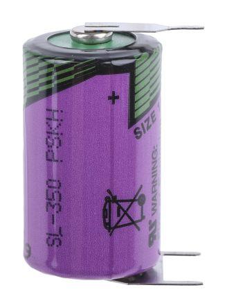 Tadiran SL350/PT 3.6V Lithium Thionyl Chloride 1/2 AA Battery, 1200mAh
