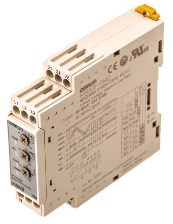 Omron Phase, Voltage Monitoring Relay with SPDT-NC Contacts, 3 Phase, 220 → 277 V ac, 380 → 480 V ac