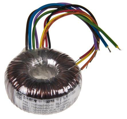 rs pro 30va 2输出 环形变压器, 2 x 12v ac次级额定电压, 70 (dia.