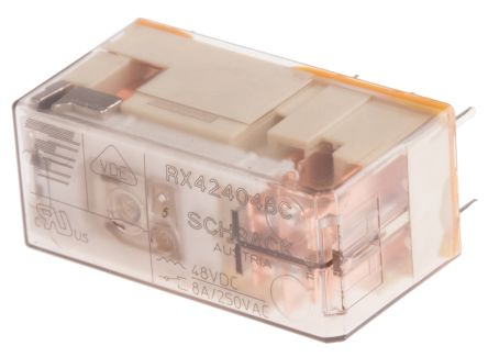 TE Connectivity DPDT PCB Mount Non-Latching Relay, 48V dc Coil 8 A