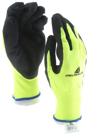 Delta Plus Yellow General Purpose Polyester Latex-Coated Reusable Gloves 10 - L