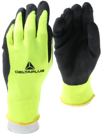 Delta Plus Yellow General Purpose Polyester Latex-Coated Reusable Gloves 7 - S