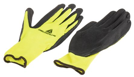 Delta Plus Yellow General Purpose Polyester Latex-Coated Reusable Gloves 8 - S