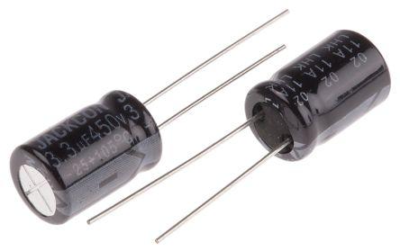 rs pro 铝电解电容器 rs 系列, 450v dc, 3.3μf, 通孔安装