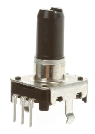 Alps 24 Pulse Incremental Mechanical Rotary Encoder with a 6 mm Flat Shaft (Not Indexed), Through Hole