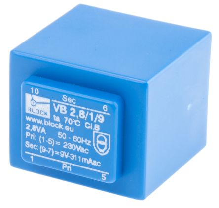 9V ac 1 Output Through Hole PCB Transformer, 2.8VA