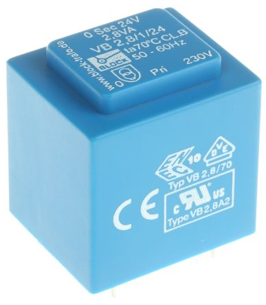 24V ac 1 Output Through Hole PCB Transformer, 2.8VA