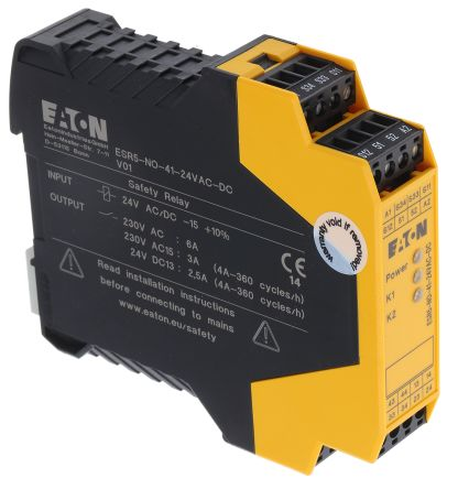 ESR5 Safety Relay, Single Channel, 24 V ac/dc