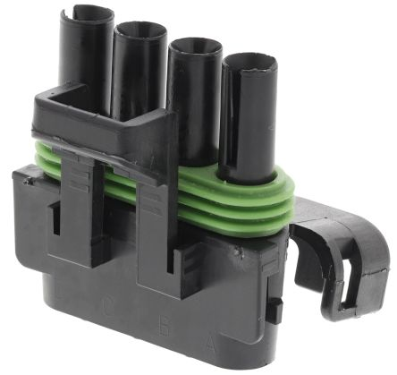 Delphi Weather-Pack Series, 4 Way Cable Mount Socket Connector, with Crimp Termination Method