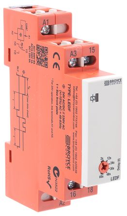 True Delay Off Single Timer Relay, Screw, 2 → 60 s, SPDT, 2 Contacts, SPDT, 24 V ac/dc, 230 V ac