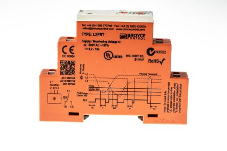 Broyce Control Phase, Voltage Monitoring Relay with SPDT Contacts, 280 → 520 V ac