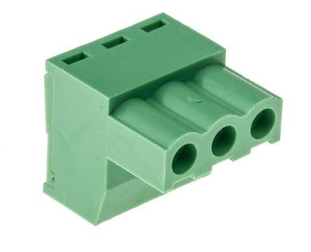 08mm 节距 3 路母 绿色 直角 插头, 印刷电路板安装, 钳制端接