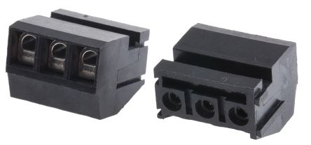 rs pro 5mm 节距 3 路母 黑色 垂直 插头, 印刷电路板安装, 电线端接