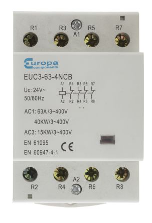 4 Pole Contactor, 63 A, 40 kW, 24 V ac Coil