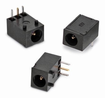 这些直角印刷电路板安装直流电源插座具有内部常闭单开关和 1.