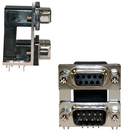 节距 9 路 直角 印刷电路板安装 叠层式印刷电路板 d-sub 连接器 母座