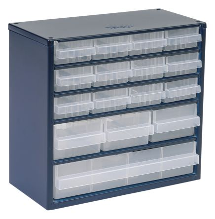 Raaco Blue, Steel 16 Drawer Storage Unit, Transparent Drawers, 282mm X  306mm X