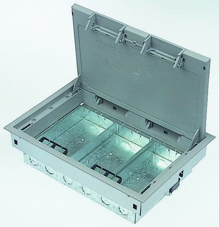 Britmac Grey Floor Box, 3 Compartments 215 mm x 305mm x 75mm